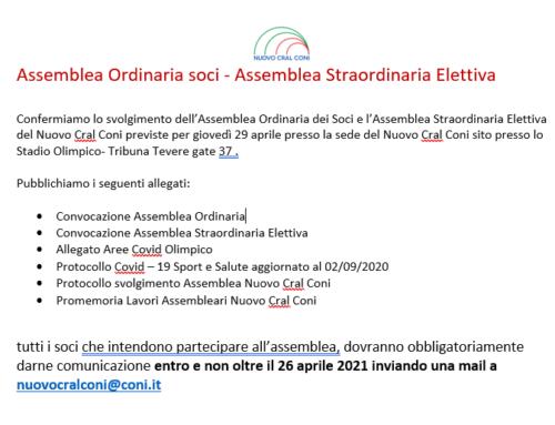 Assemblea Ordinaria soci – Assemblea Straordinaria Elettiva