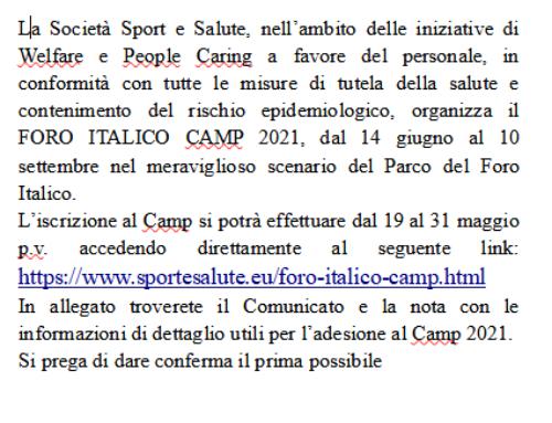 CENTRO ESTIVO – Foro Italico Camp 2021