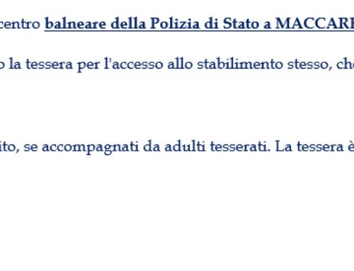 CONVENZIONE CENTRO BALNEARE POLIZIA DI STATO 2021